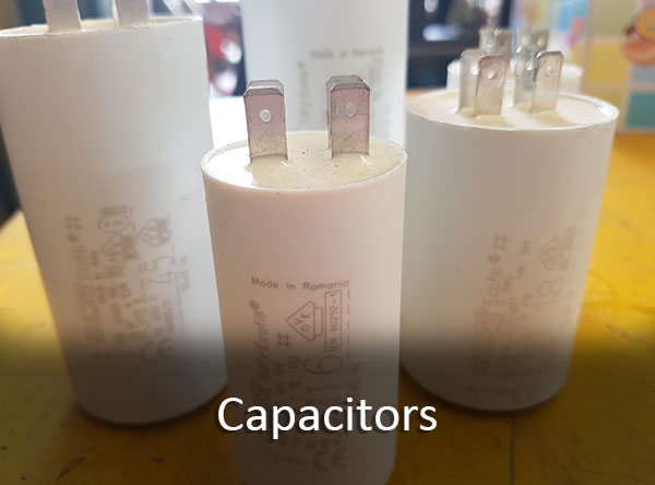Motor start and motor run capacitors